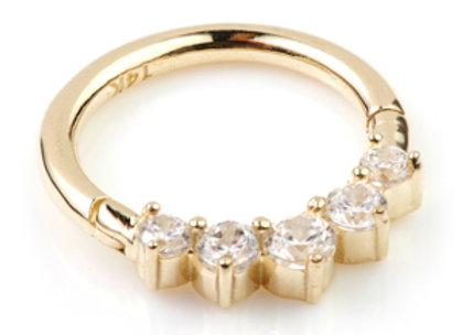 Solid 14kt Gold 5 Gem Ring - TISH LYON®