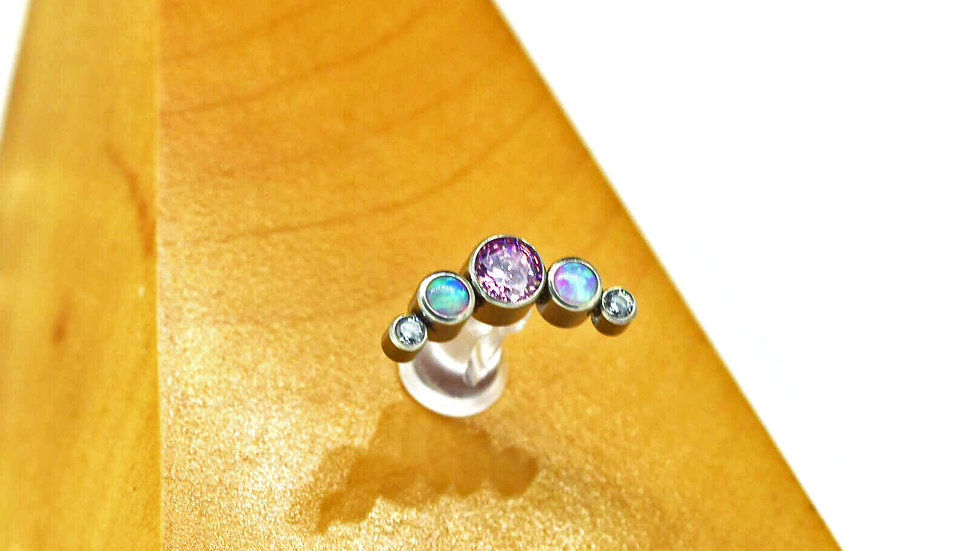 'The Pink Nebula' Opal & Cz Cluster Attachment