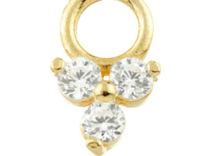 Gold CZ Trinity dangle charm