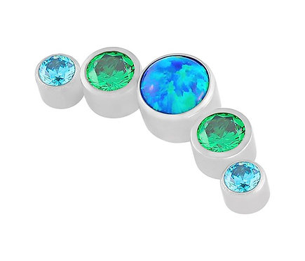 1.2mm 'The Jade Sea'  Blue Opal and CZ  Attachment