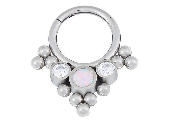 'Olivia' - Tri-bead, Fauxpal, and CZ  Hinged Segment Ring