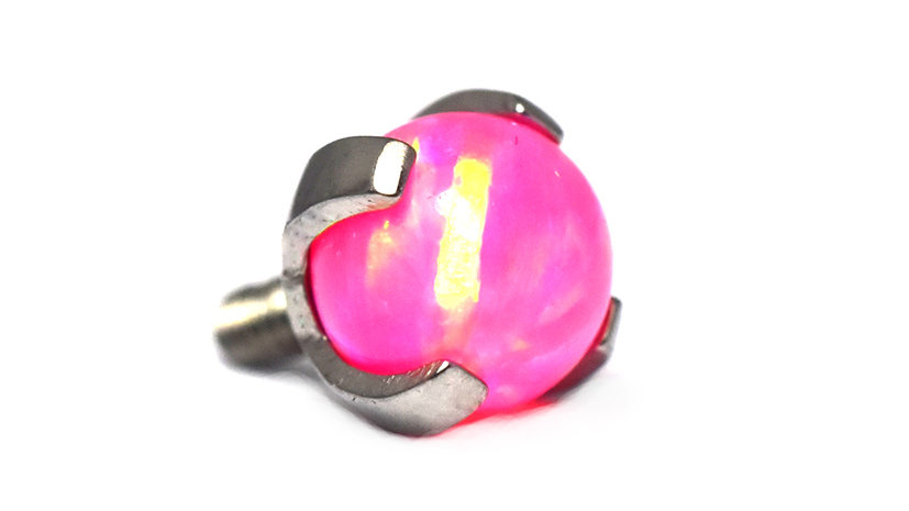 Hot Pink - prong set opal bead attachment