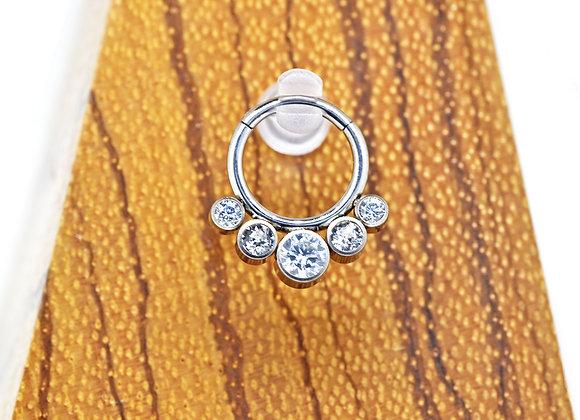Clear CZ 5 Stone Hinged Segment Ring