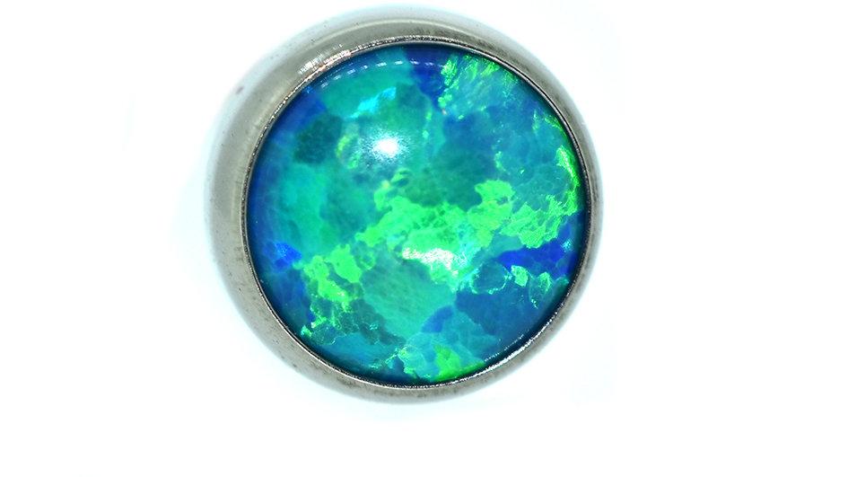 Peacock Blue - opal cabochon attachment