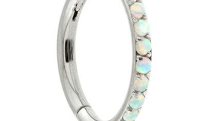 Titanium Pavé Opal Gems  - Hinged Segment Ring