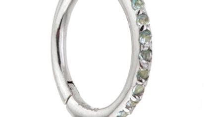 Pavé Swiss Blue Topaz Eternity Hinge Ring