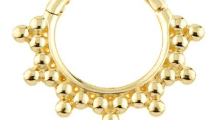 14ct Gold Tribal Ball Hinge Ring