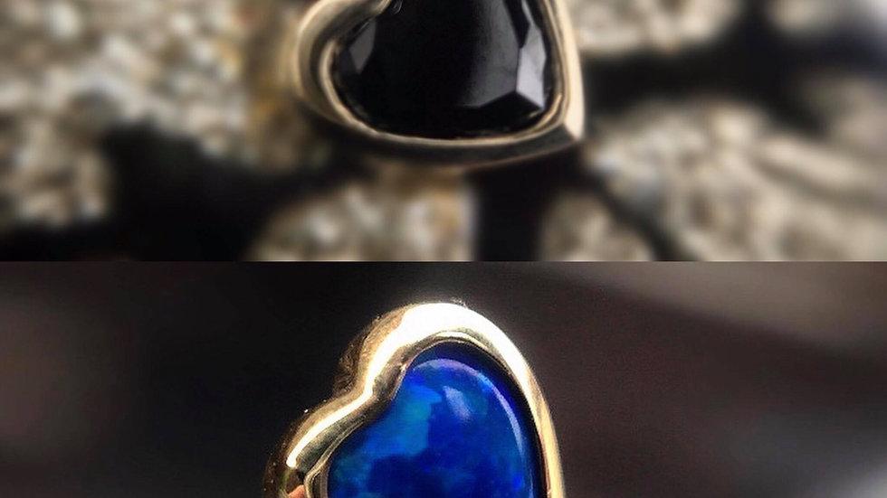 Blue Opal Heart - Threadless Decorative Atattchment