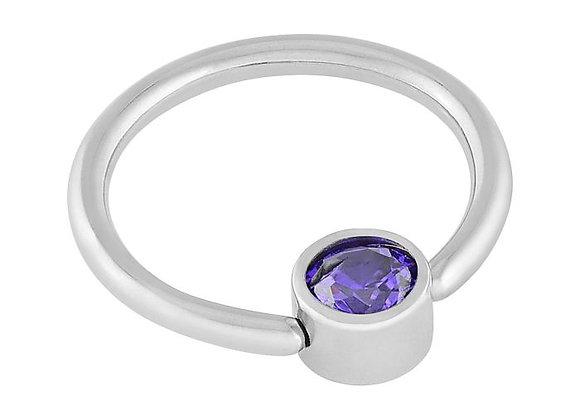 Amethyst - CZ Captive Ring