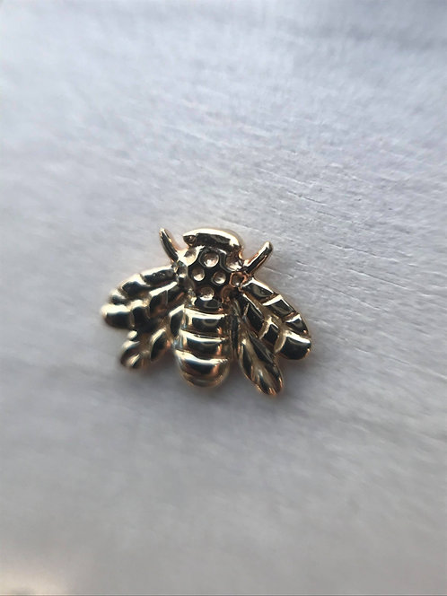 Yellow Gold Bumble Bee - (Threadless) Decorative End
