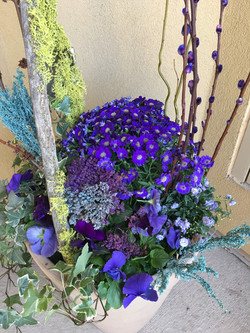Stunning purple and blue planter