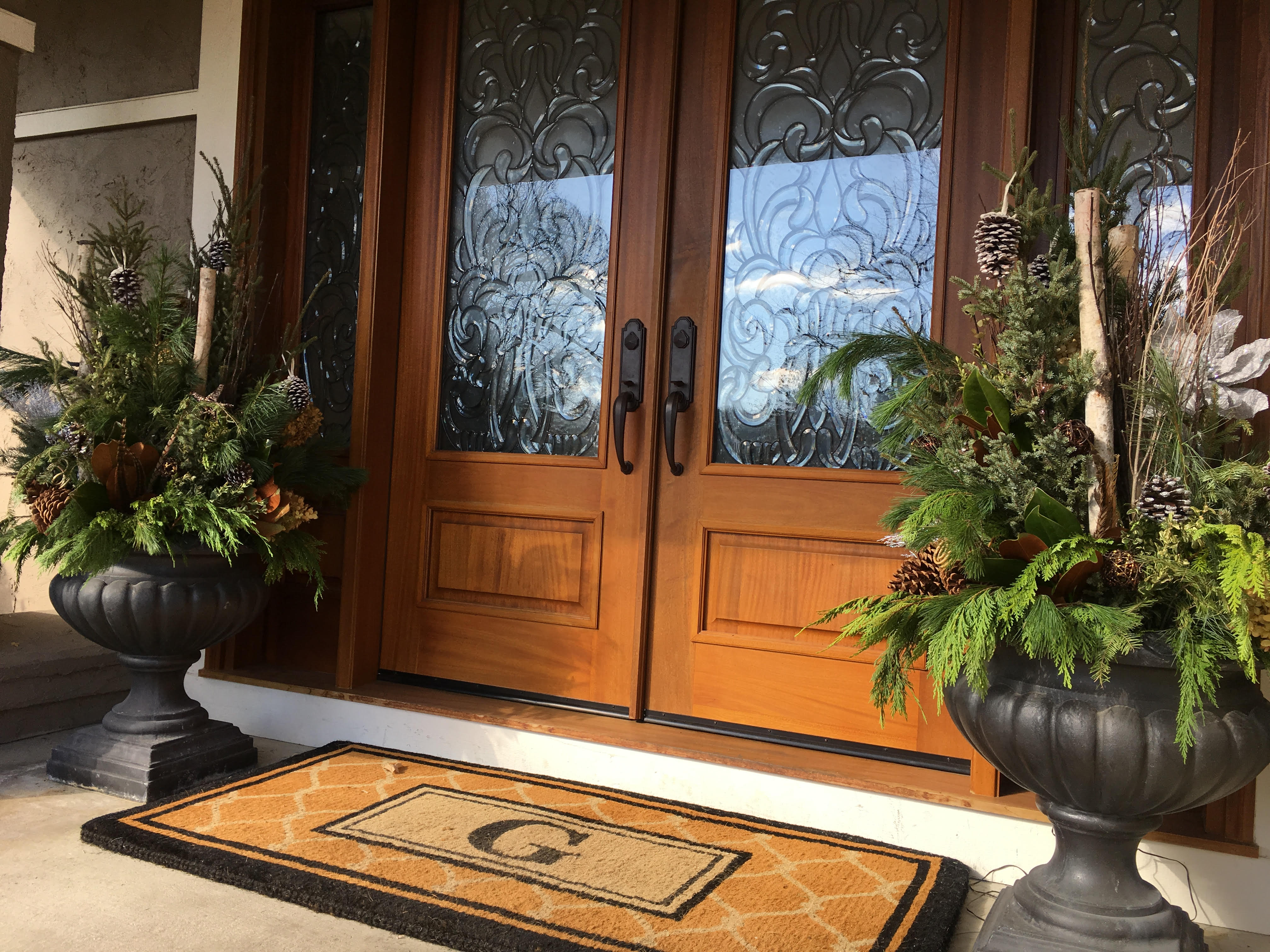 Beautiful front entrance planters