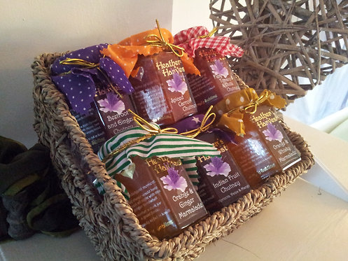 Selection Wicker Hamper  with 6 Mini Jars (you choose the six)