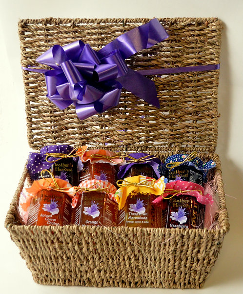 Gift  Wicker Hamper with 8 Small Jars