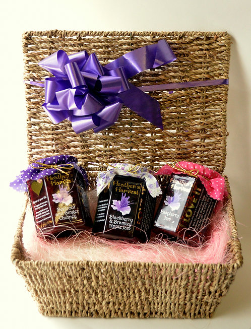 Gift Wicker  Hamper with 3 Large Jars