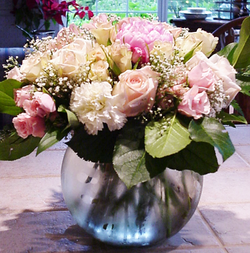 Pink and White Bowl Arrangement