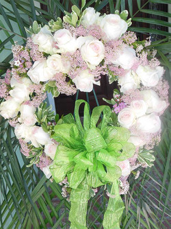 White and Pink Funeral Wreath