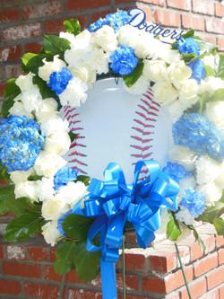 Dodger Themed Sympathy Wreath
