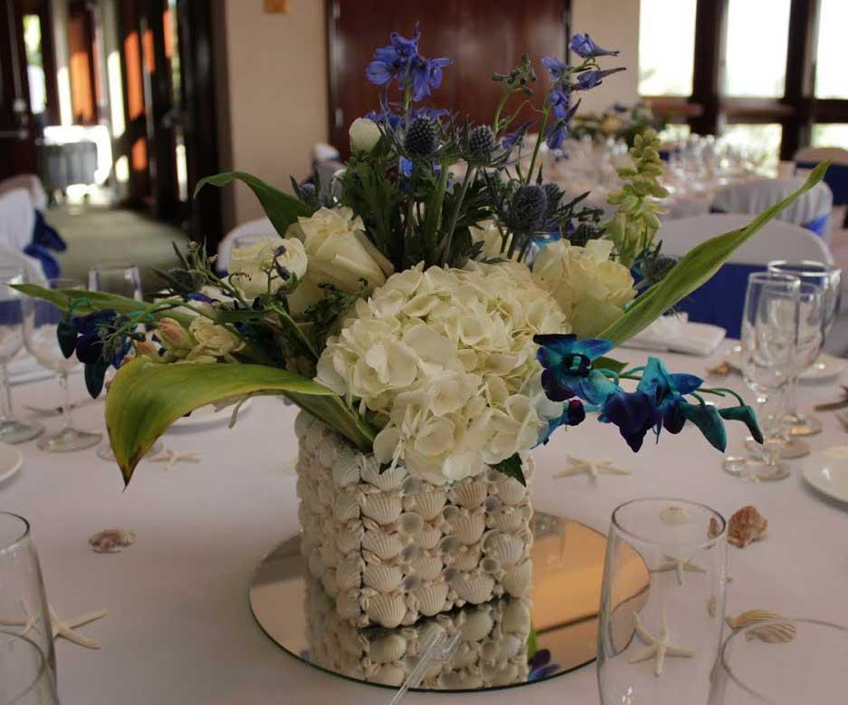 Blue and White Wedding Centerpiece