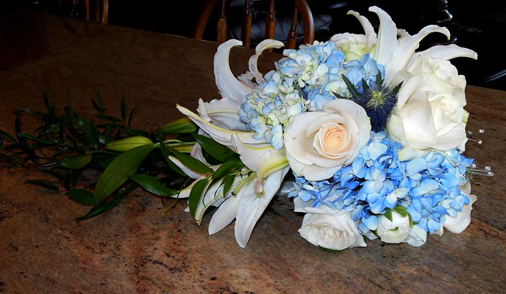 Bridal Bouquet  Blue Hydrangea Roses