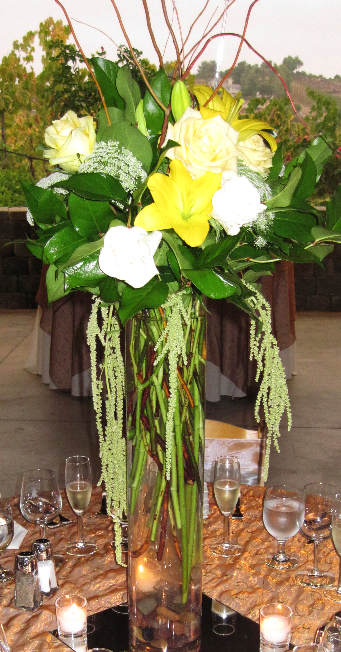 Yellow and White Rose Centerpiece