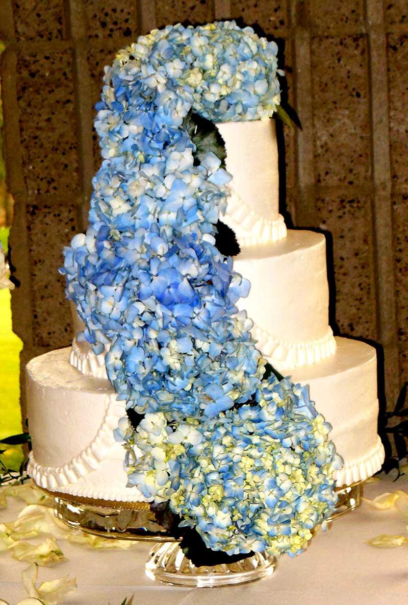 Wedding Cake with Blue Hydrangeas