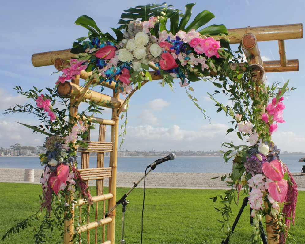Archway with pink and white flowers