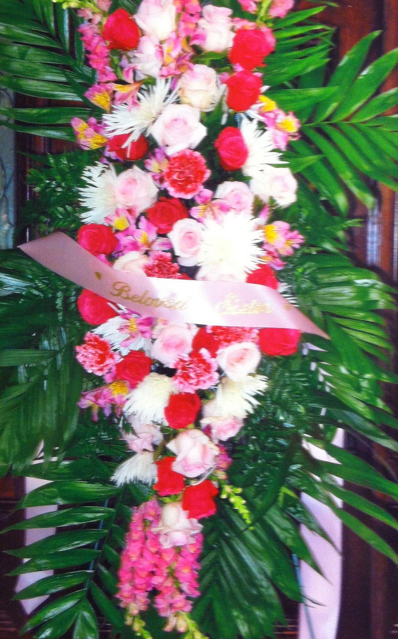 Pink and White Funeral Wreath