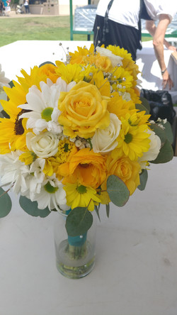 Flowers- Bridesmaids bouquet- Sunflowers and yellow Roses