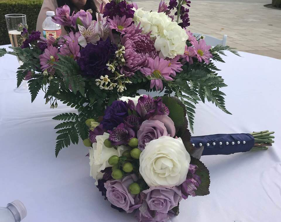Flowers- Wedding Bridesmaid Bouquet with Centerpiece- Purple