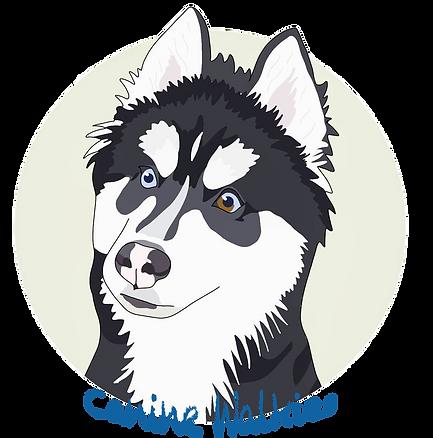 Dog logo for dog walking and pet sitting, caninewalkiesuk