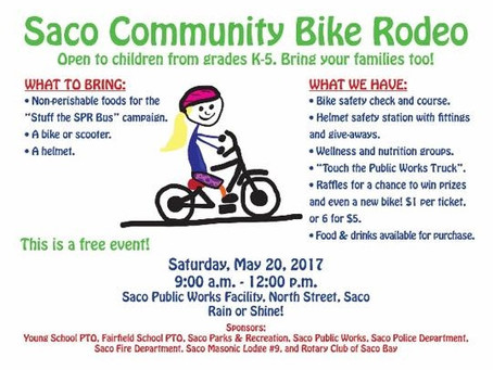 Saco Bike Rodeo May 20th!