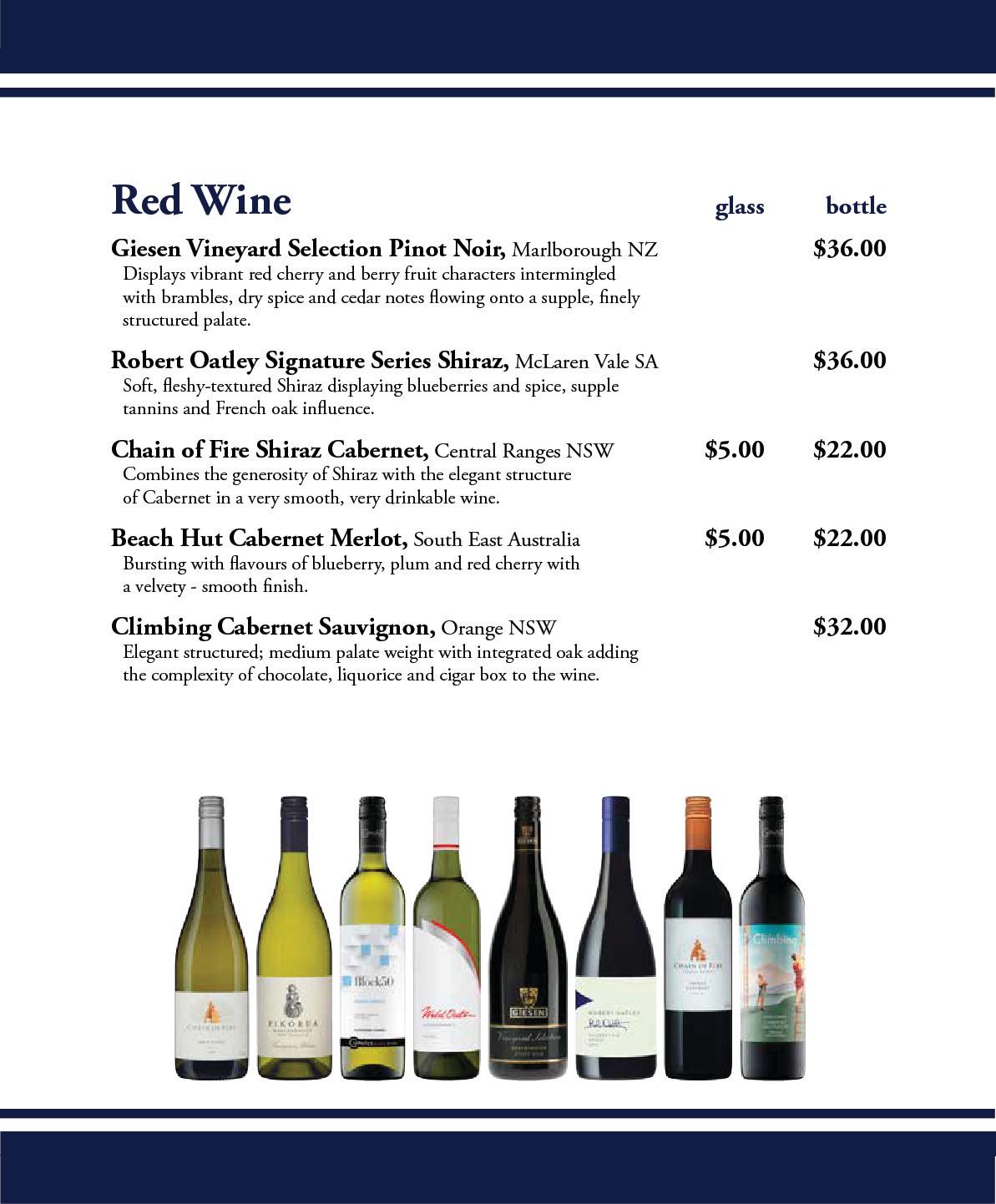 Settlers Tavern Wine List