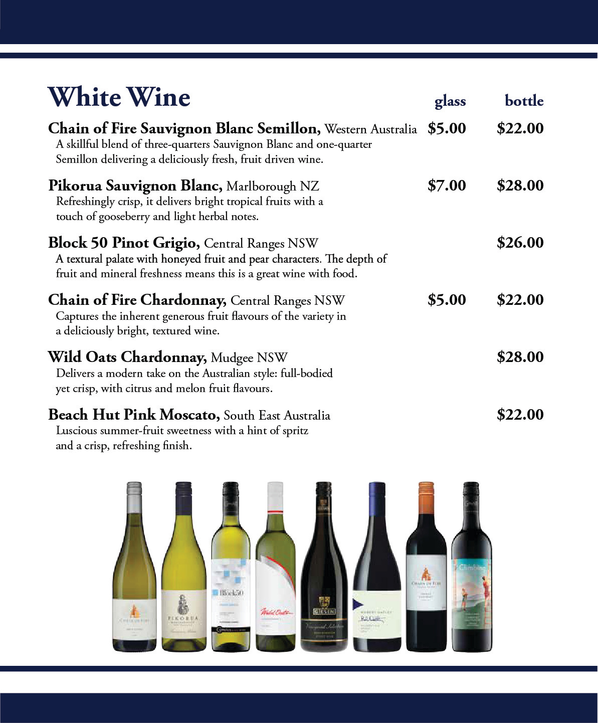 Settlers Tavern Wine List