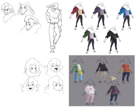 Character design for the short film, Wolf in Sheep's Clothing