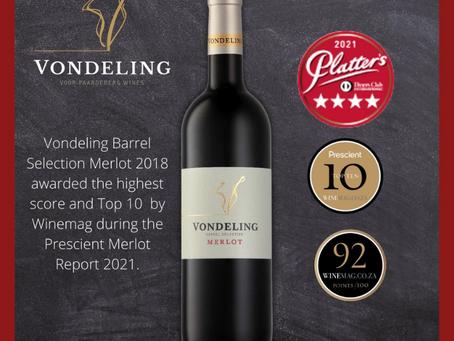 Vondeling Barrel Selection Merlot wins again!