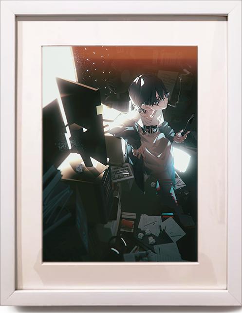 複製原画 額装 A4 【引きこもりっ子】