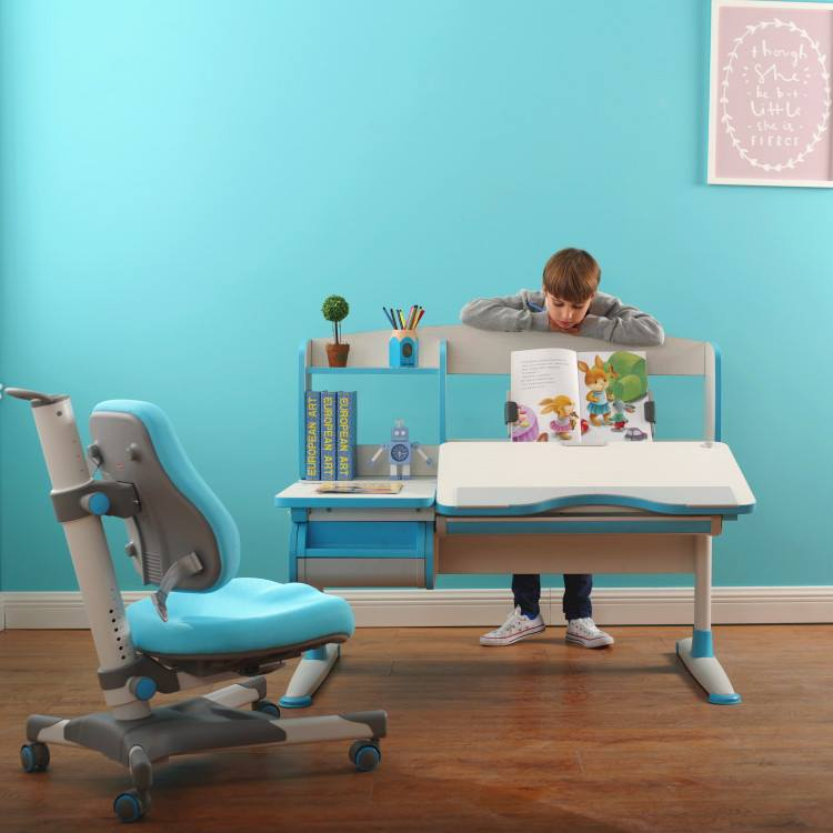 blue desk and chair