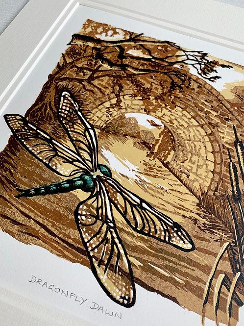 Dragonfly Dawn Reduction Linocut 2/30