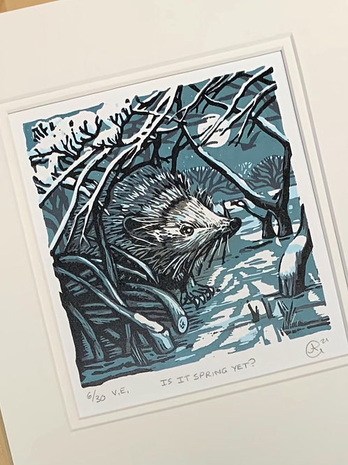 Is It Spring Yet? Reduction Lino Print 6/30