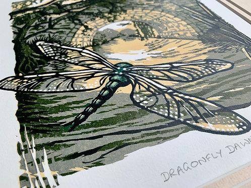 Dragonfly Dawn Reduction Linocut 3/30