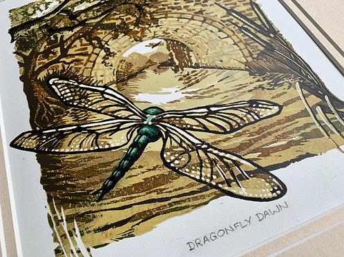 Dragonfly Dawn Reduction Linocut 1/30