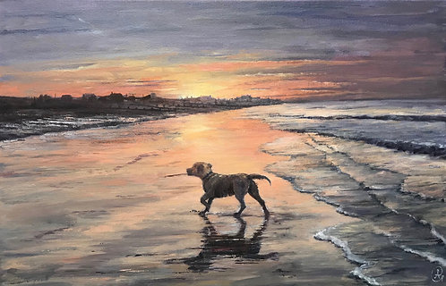 Oil Painting - A Walk Before Sunrise
