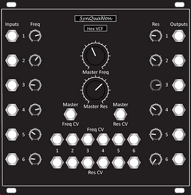 Eurorack 25HP Hex VCF v1.0 Panel Black 0