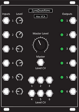 Eurorack 18HP Hex VCA v1.0 Panel with Kn