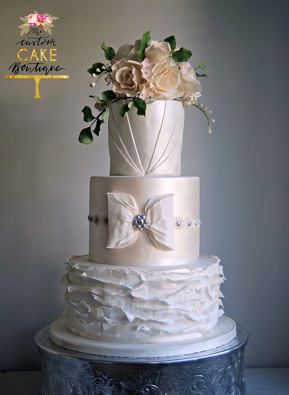 Ivory Pleats Sugar Flowers Wedding Cake