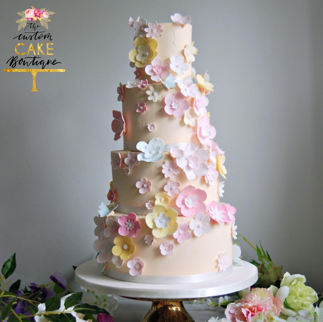 Pastel Sugar Flower Buttercream Wedding Cake