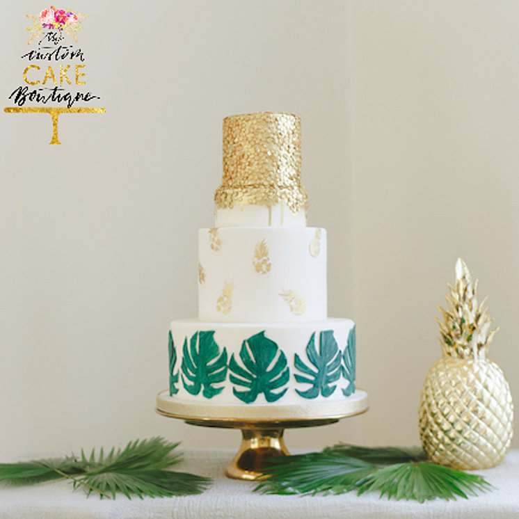 Pineapple Gold Sequins Wedding Cake