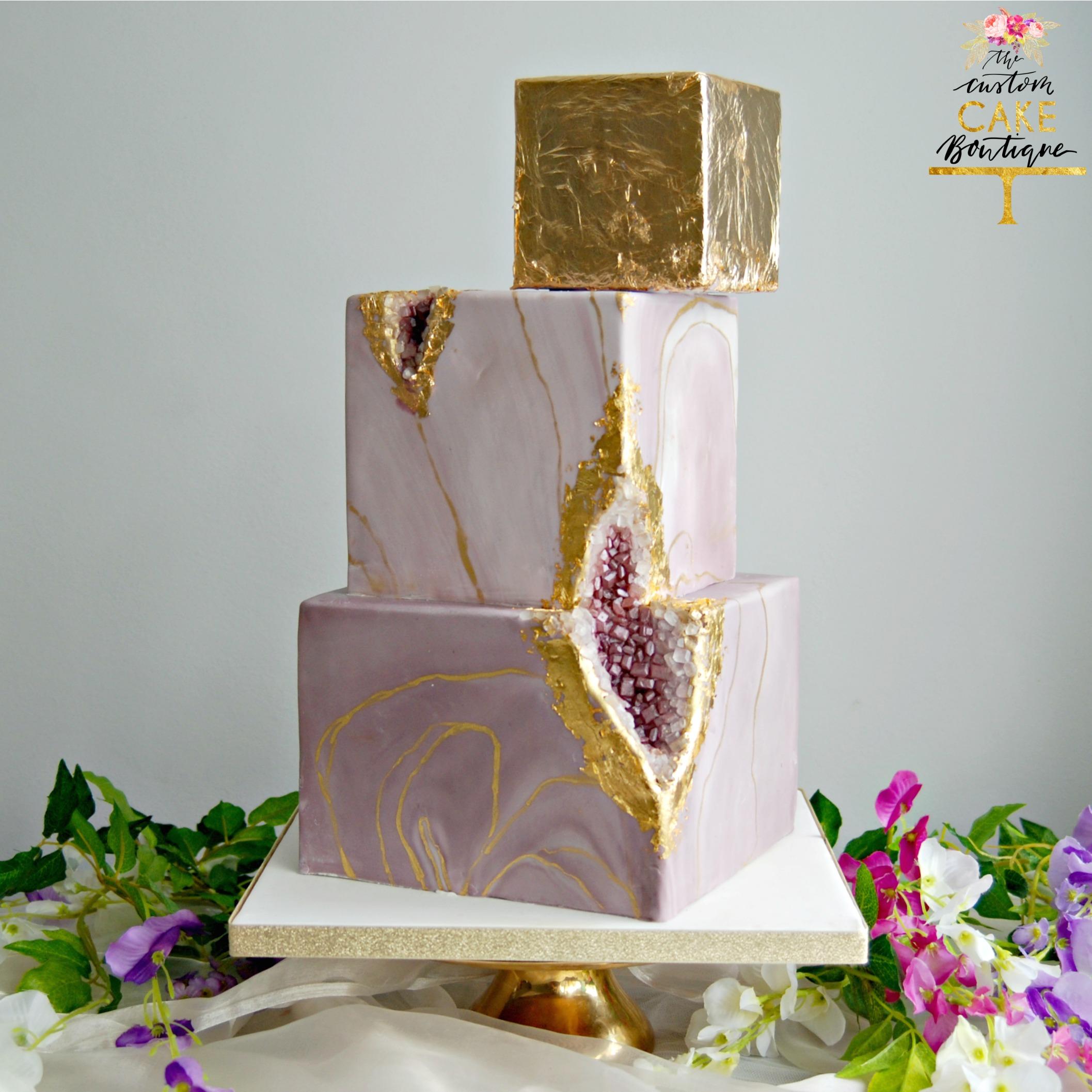 Purple Marble Geode Amythest Cake