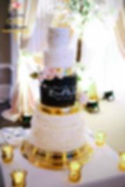Gold Ivory Ruffles Chalkboard Wedding Cake
